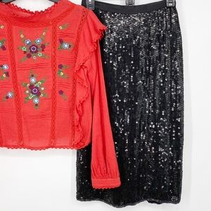 Vintage Argenti Silk Sequin Midi Skirt Black M